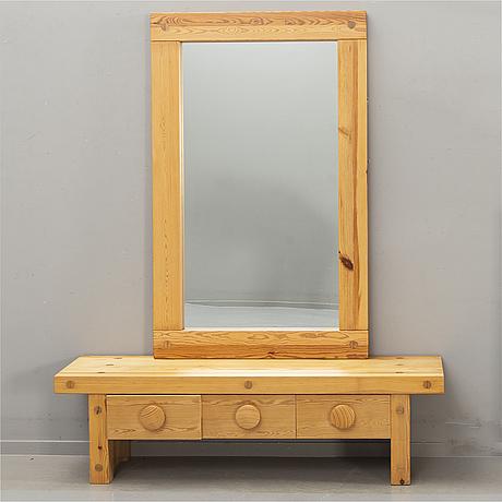 "Hallmöbel, ""ruben"", nybrofabriken ab, mirror and chest of drawers, 1970s."