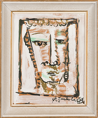 Alpo jaakola, oil on board, signed and dated -81.