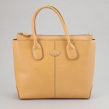 Tod's, a beige leather handbag.