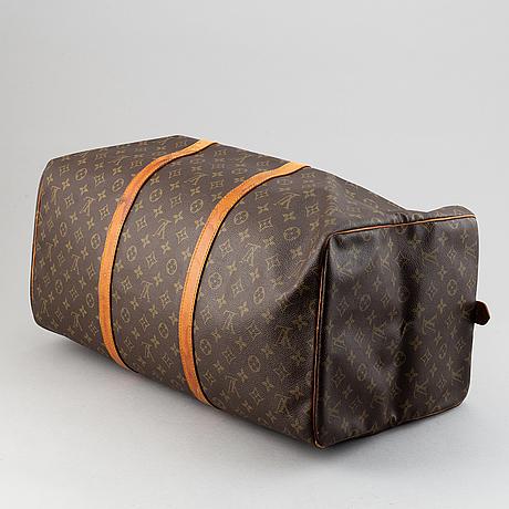 Louis vuitton, a monogram canvas 'keepall 55' weekend bag.