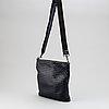 Bottega veneta, a navy intrecciato leather messenger bag.