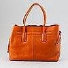 Tod's, an orange leather handbag.