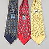 Hermès, three silk ties.