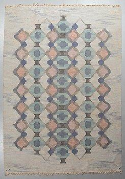 "Judith Johansson, a carpet, ""Myosotis"", flat weave, ca 298,5 x 209,5-213 cm, signerad JJ J (the weaver)."