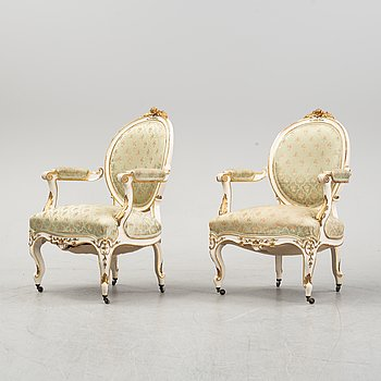 A pair of armchairs, early 20th Century.