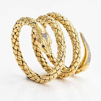 Chimento, Armband, 18K guld, rubiner, diamanter ca 0.46 ct tot. Italien.