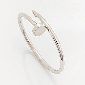 """405B. A Cartier """"Juste en Clou"""" bracelet in 18K white gold."""