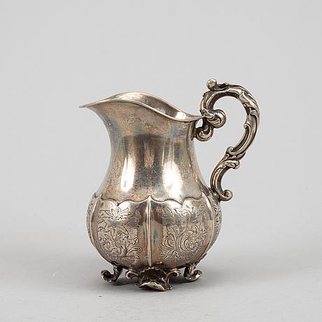 Såsskål, gräddkanna samt såssked, silver, sverige 1800-tal.