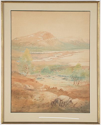 Olof walfrid nilsson, akvareller, två stycken, signerade och daterade -28 samt -30.