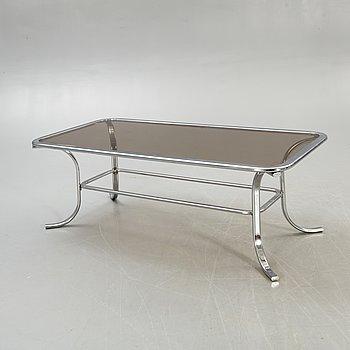 Soffbord, kromat underrede, glas, 1980-tal.