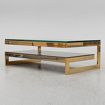 A metal and glass coffee table, 1970's.