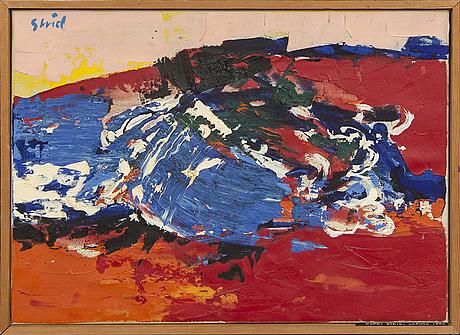 """Hardy strid, olja på duk, """"la puta"""", signerad, 1964."""