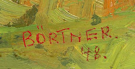 Gustaf börtner, olja på pannå,  signerad, daterad 1948.