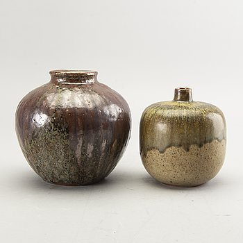 Rolf Palm, two 1960/70's glazed stoneware vases, signed Palm, Mölle.