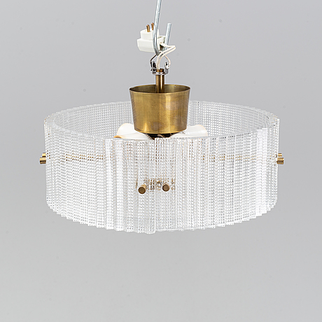 Carl fagerlund, a late 20th century orrefors pressed glass and brass ceiling lamp.