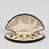 A set of six german parcel-gilt silver 800 salt cellars in fitted case.