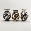 Herman kähler, three  ceramic vases, denmark 1910/20's.