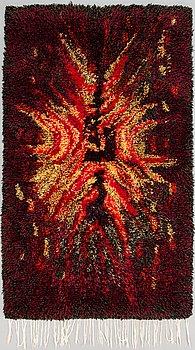 "Satu Peura, ryijy, A Finnish wool ryijy rug ""Fire flower"", 172 x 101 cm."