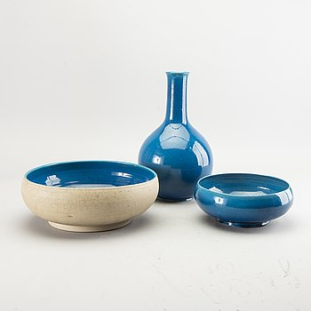 Herman Kähler, two stoneware bowls and a vase, Denmark.