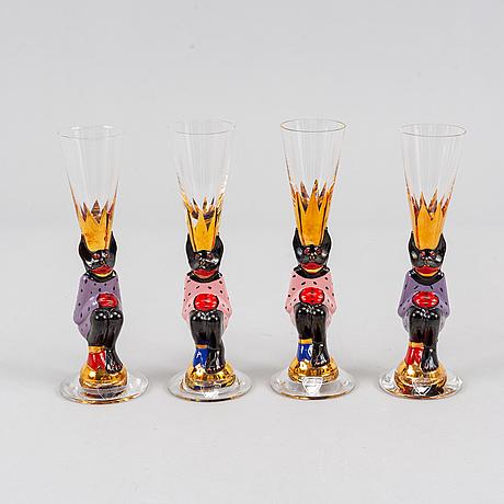 Gunnar cyrén, 18 'devil glasses' for the nobel glass service, orrefors.