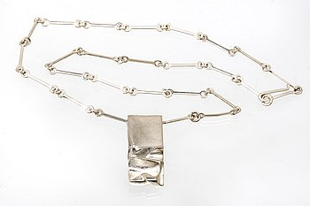 Lapponia, necklace with fixed pendant, sterling silver, Finland 1984.