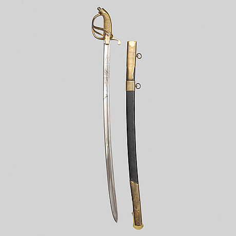 An imperial russian gold sabre for bravery, 1855 naval pattern, zlatoust factory, with scabbard.