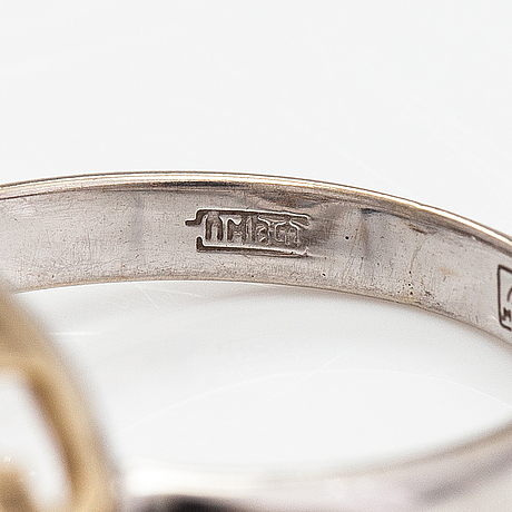 Ring, 14k guld, diamanter ca 0.012 ct tot. moskva.