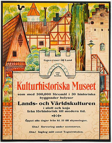Gösta adrian-nilsson, a lithographic vintage poster for kulturhistoriska museet, 1929.
