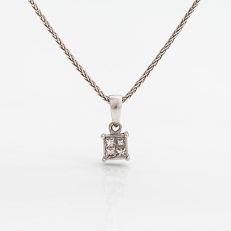 Kaulakoru, 14k valkokultaa, timantteja n. 0.24 ct yht. kultajousi, helsinki.