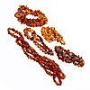 5 amber necklaces, 1 with clasp in metal, approx 60-90 cm.