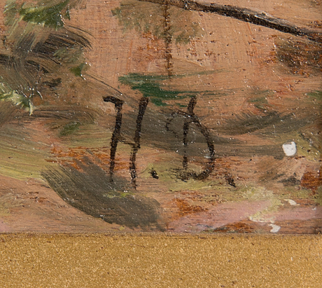 Helge dahlman, olja på pannå, signerad.