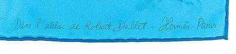 """Hermès, huivi, """"dans l'atelier de robert dallet""""."""