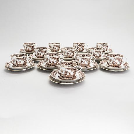 A 26-piece 'singapore' tea set of arabia, finland 1932-49.