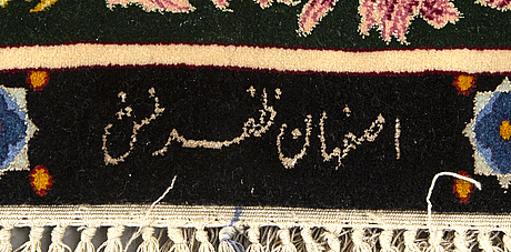 An isfahan old signed silk carpet ca 98 x150 cm.