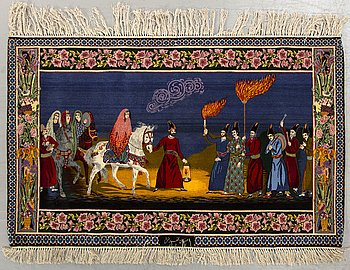 Matta Isfahan silke signerad old 98 x 150 cm.