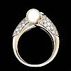 Ring 18k whitegold 2 cultured pearls approx 7 mm and brilliant-cut diamonds approx 1 ct in total, size approx 54,5.