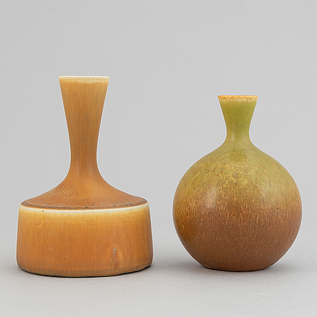 Sven wejsfelt, a set of four stoneware vases and two bowls for gustavsbergs studio.