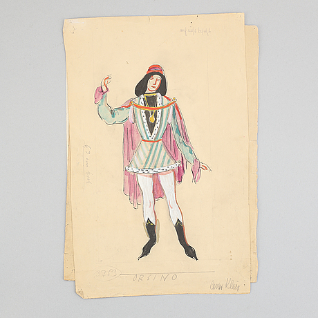 Seven costume sketches by césar klein from shakespears twelfth night, signed.