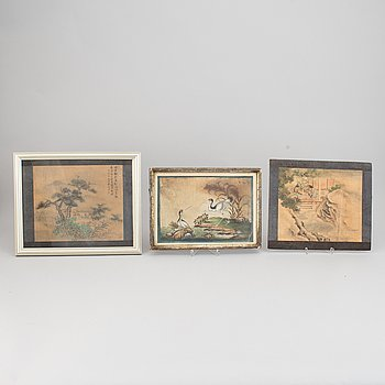 Three watercolour paintings, Qing dynasty, 19th century.