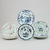 Seven blue and white and famille rose export porcelain plates, qing dynasty, qianlong (1736-95).