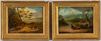 Unknown artist, England, 19th century, oil on panel, a pair.