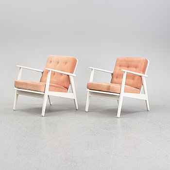 A pair of painted easy chairs from Ikea, second half of the 20th Century.