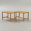 A pair of 1960s ludvik volak oak side tables  for drevopodnik.
