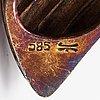 Helminauha, viljellyt helmet, 14k kultaa, timantteja n. 0.045 ct yht.
