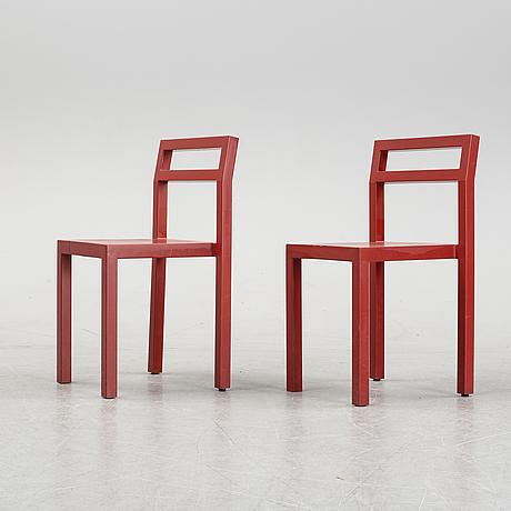 """Boris berlin/poul christiansen, bord med två stolar, """"non"""", komplot design, källemo."""
