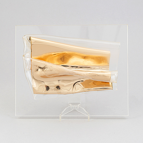 A plexiglass and plastic sculpture by jan naliwajko, signed and dated 1995.