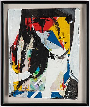 Jan Naliwajko, collage on paper, signed and dated 1989.