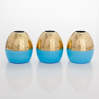 Hans-Agne Jakobsson, A 3-pieces set 60s/70s candle lanterns for Markaryd Sweden.