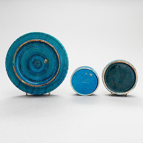 "Aldo londi,  a mid-20th century ceramic table lamp and three bowls, ""rimini blu"", for bitossi."