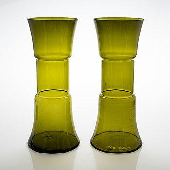 """Tamara Aladin, A pair of glass vases """"Tam-Tam"""", Riihimäen Lasi, 1970s."""